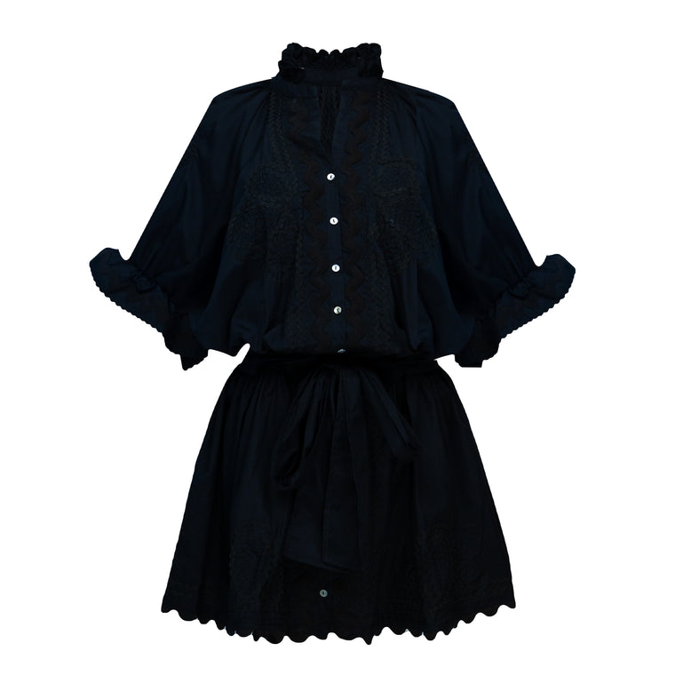 Poplin Blouson Dress With Ric Rac Embroidery Black