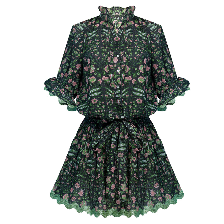 Temple Flower Print Blouson Dress With Sash Ties Black/Pistachio
