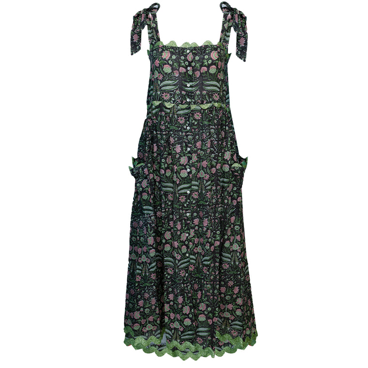Temple Flower Print Tie Shoulder Dress With Trim Black/Pistachio