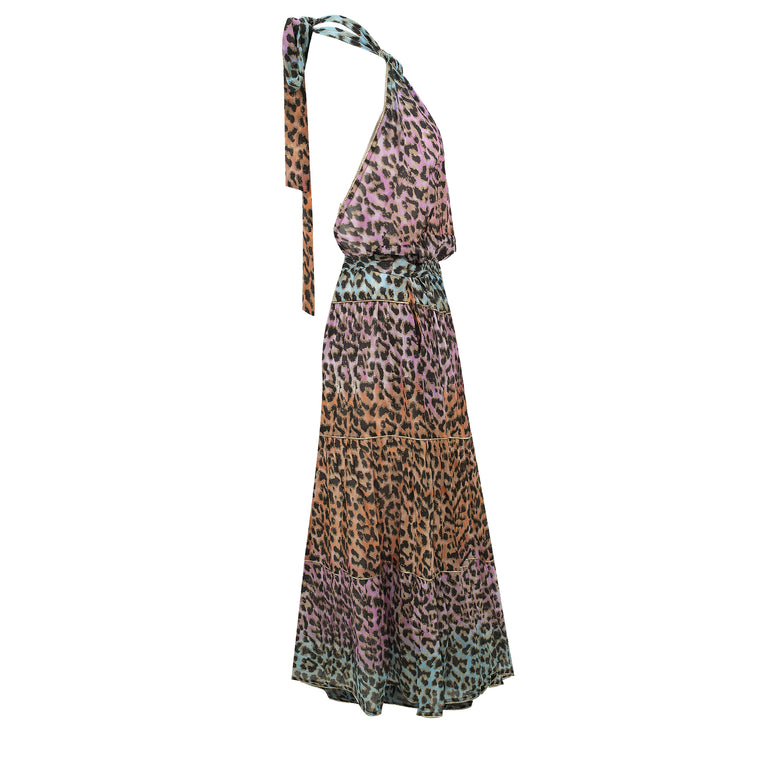 Tie Dye Leopard Print Halter Neck Maxi dress