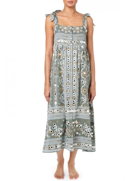 Nomad Print Tie Shoulder Dress Lined Slate/White