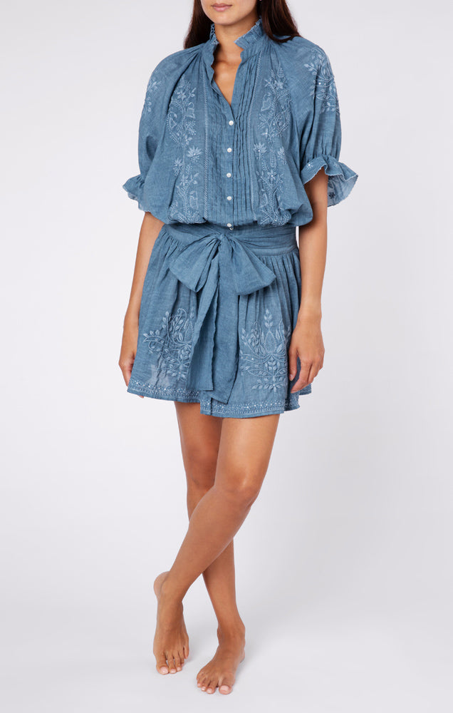 Acid Wash Blouson Dress With Tonal Lotus Embroidery Denim Blue