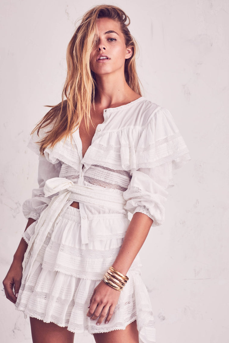 Ruffle Mini Skirt Antique White