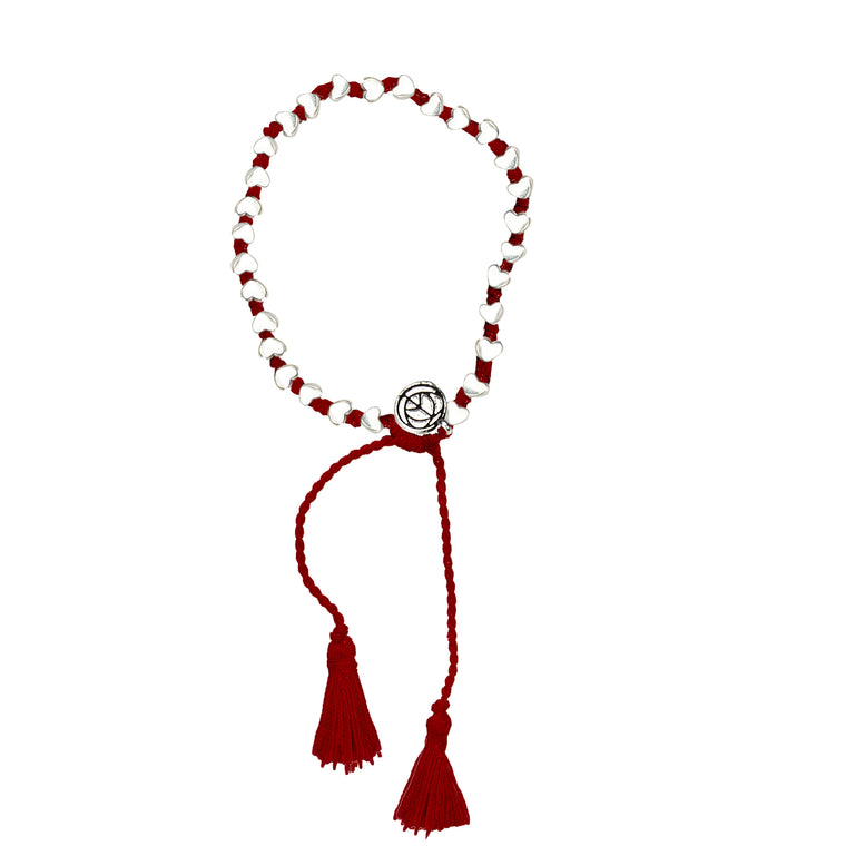 Silver Tiny Heart Bracelet With Red Tassel