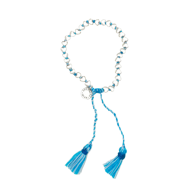 Silver Tiny Heart Bracelet With Blue/White Tassel