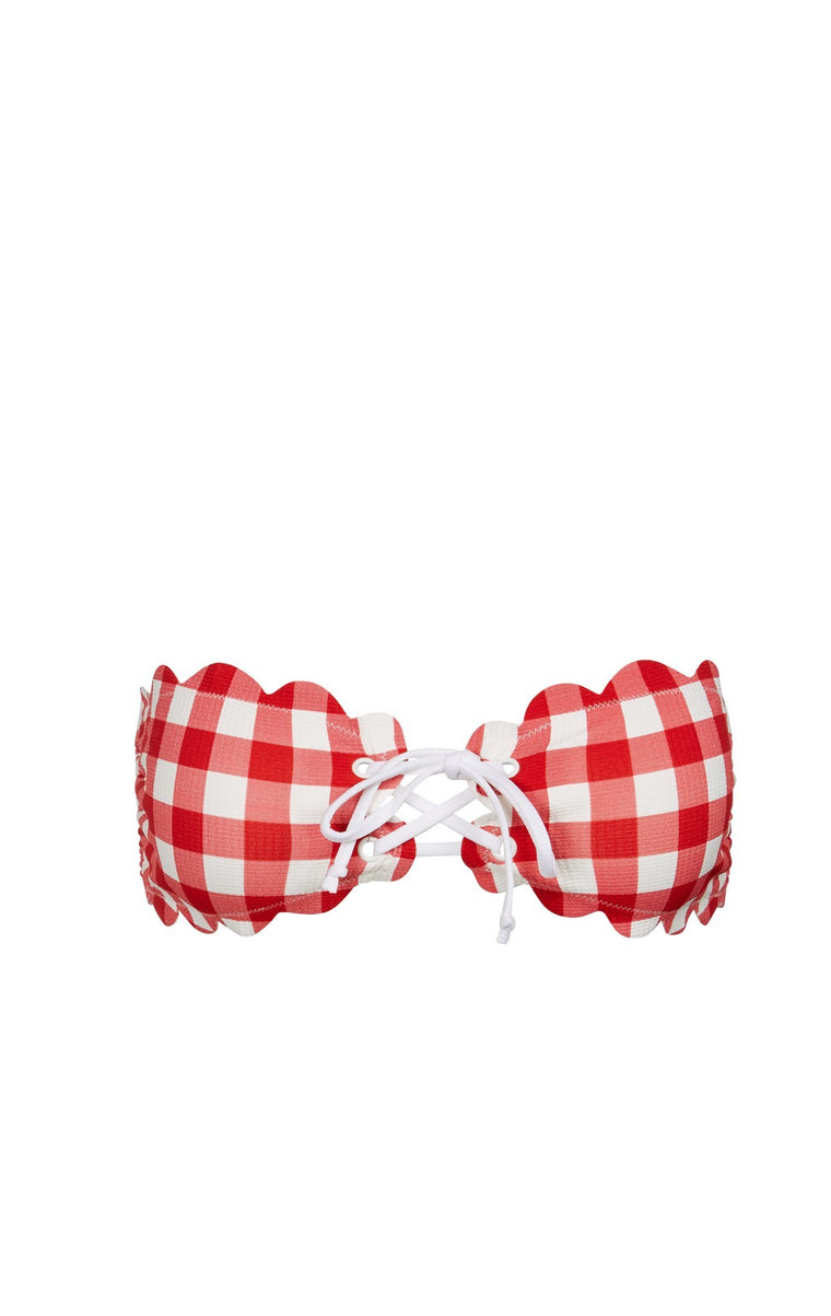 Antibes Tie Bikini Top Cherry Gingham