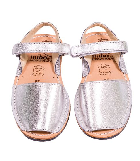 Mibo Kids Hook & Loop Silver Leather