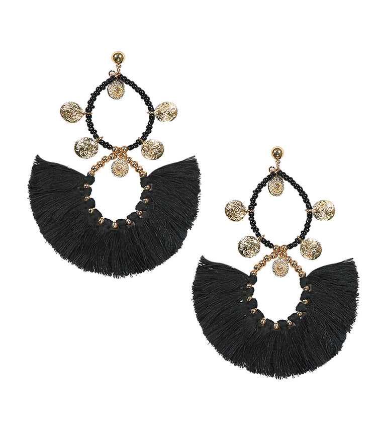 Tassel Earring Black