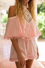 My Beachy Side Love Child Romper Pink