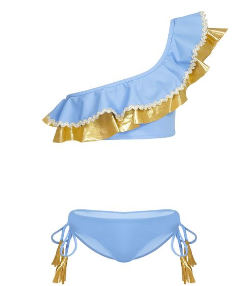Nessi Byrd Scilla Gold Ruffle One Shoulder Bikini