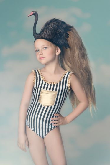 Nessi Byrd Zinnia Black & White Stripe Swimsuit