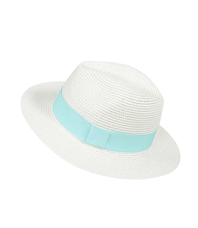 Panama Hat White with Mint Green Band