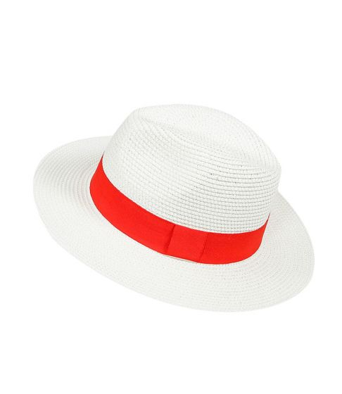 Panama Hat White with Red Band