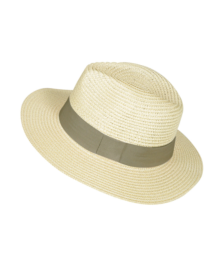Panama Hat Beige with Brown Band