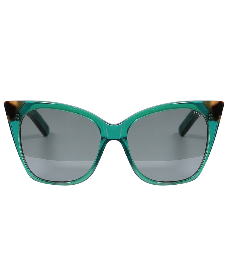 Pared Cat & Mouse Emerald & Dark Tortoise Sunglasses