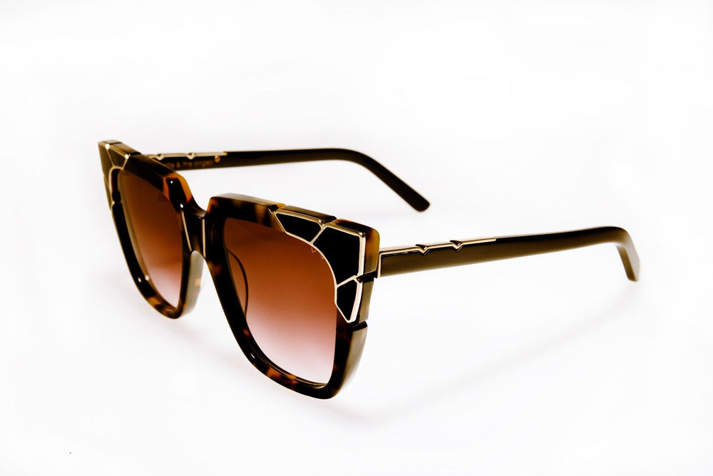 Pared Charlie & The Angels Dark Tortoise With Gold & Black Radient Lenses Sunglasses