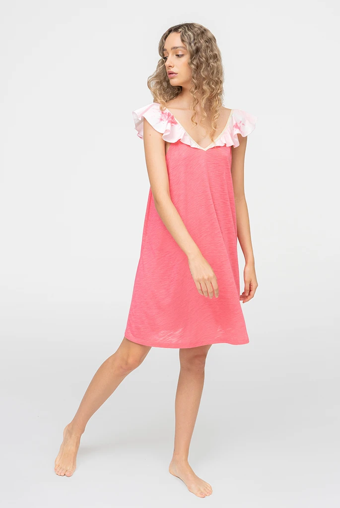 Mini Ruffle Tank Dress Calypso Coral