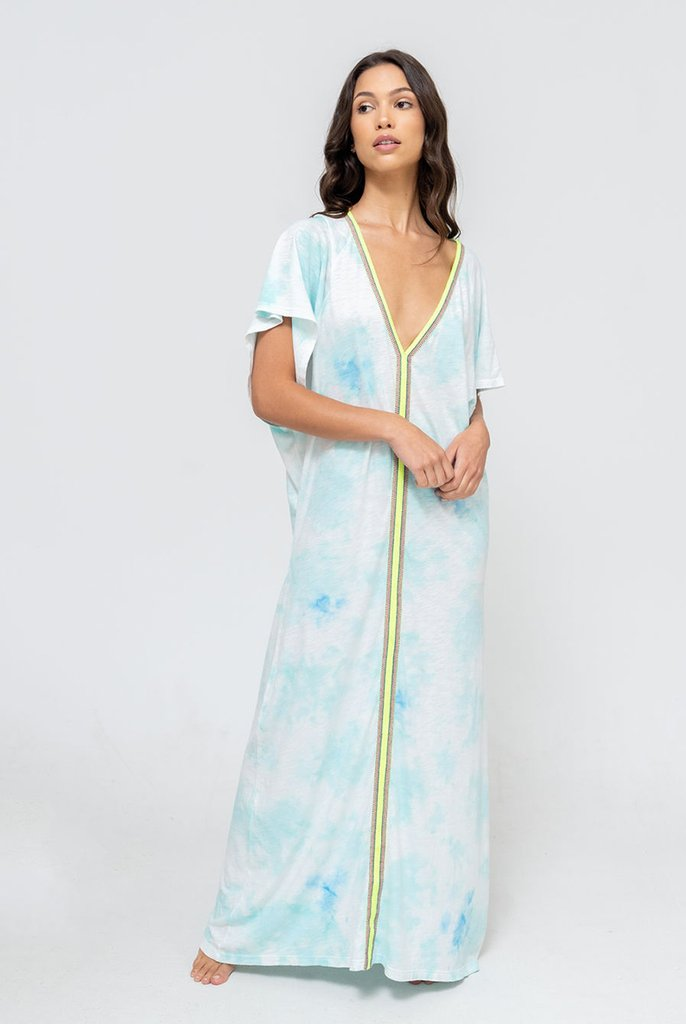 Tie Dye Inca Abaya Light Blue