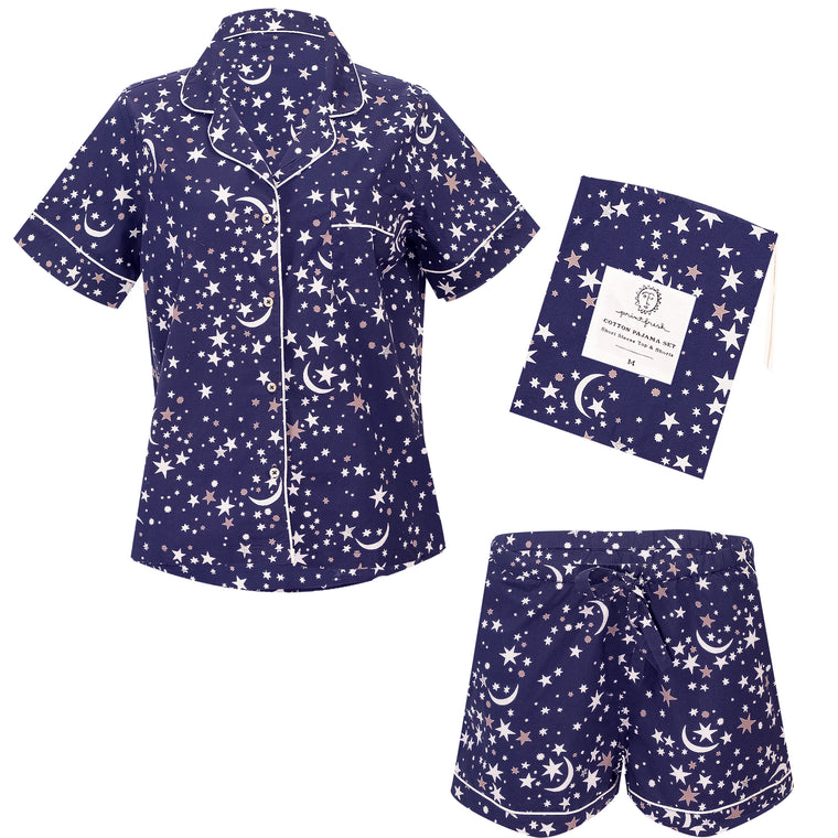 Celestial Skies Short Sleep Set Navy