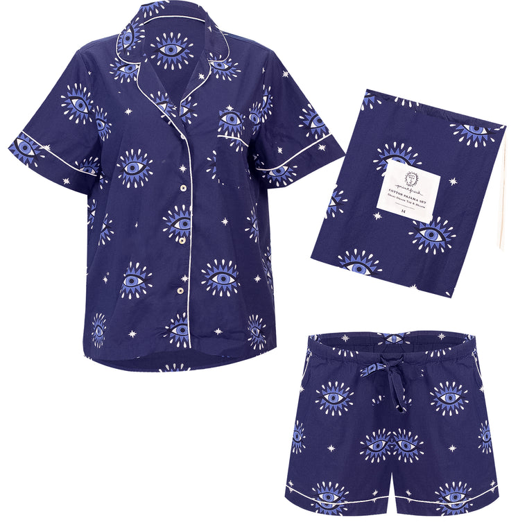 Eyes Of The World Short Sleep Set Navy