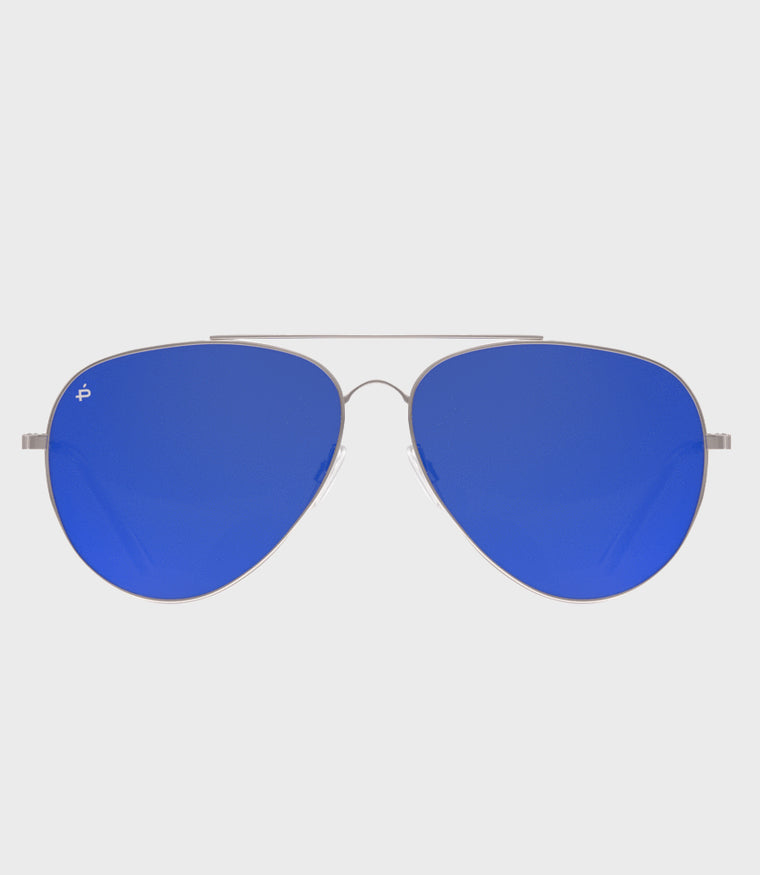 Unisex Sunglasses The Cali Silver/Blue Mirror