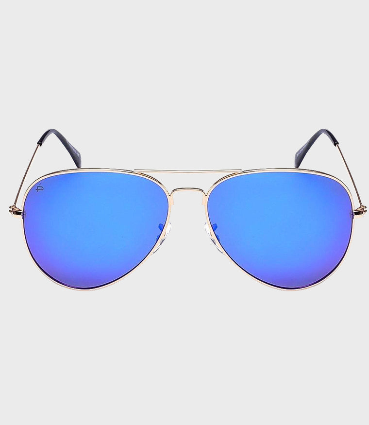 Unisex Sunglasses The Commando Gold/Blue Mirror