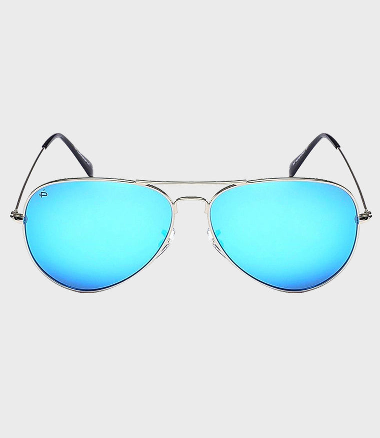 Unisex Sunglasses The Commando Silver/Light Blue Mirror