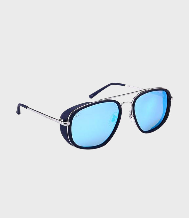 Mens Sunglasses The Explorer Black Silver/Blue