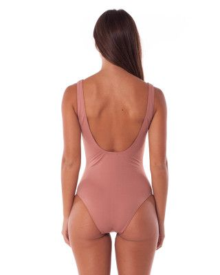 Sunchaser Lace Up One Piece Rosewood