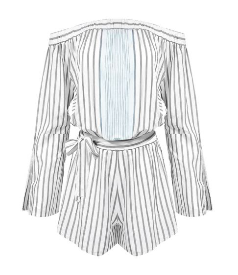 Romper Long Sleeve Off Shoulder Pale Blue Stripe