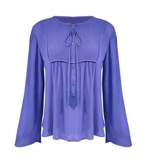 Top Tie Front Bell Sleeves Indigo