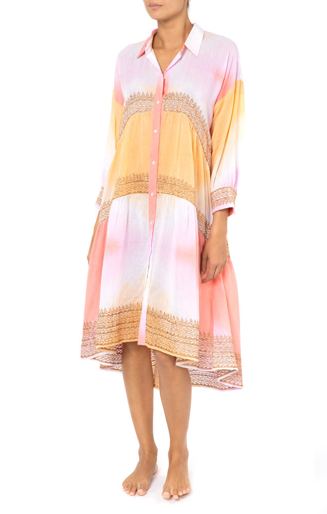 Diamond Tie Dye Oversized Shirt Dress Mango/Pink/Copper