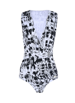 Monocromatic Pixel Cross Front One Piece - Black