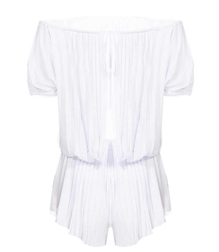 Pleated Sunrise Off Shoulder Jumpsuit White