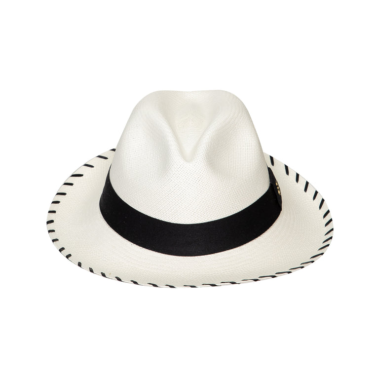Panama Hat White Zebra with Black Band