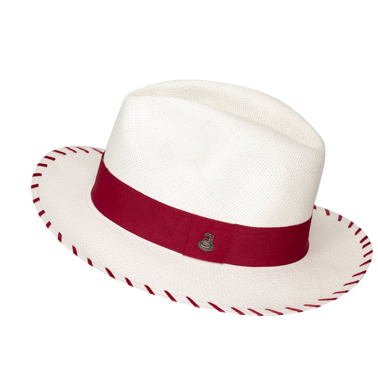 Panama Hat White Zebra with Red Band