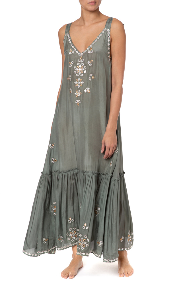 V-Neck Maxi Dress With Mirror Embro Khaki