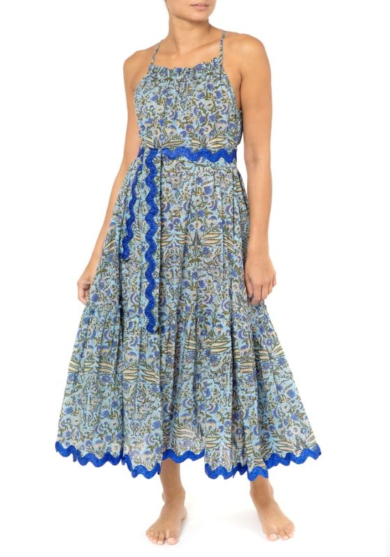 Temple Flower Print Cross Back Midi Dress With Belt Blue/Cobalt