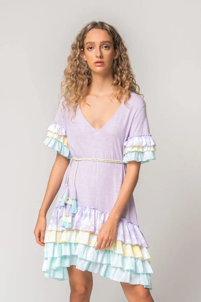 Ruffle Sleeve T-Shirt Dress Tulip