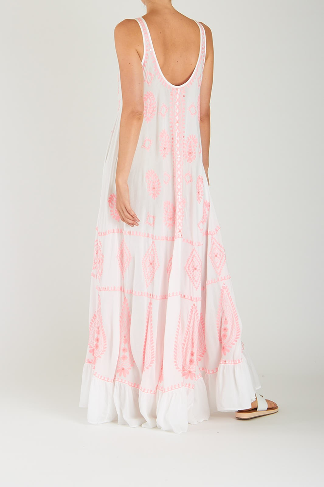 Delila Maxi Dress Whit Neon Pink