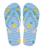Sky Blue Pineapple Striped Flip Flops