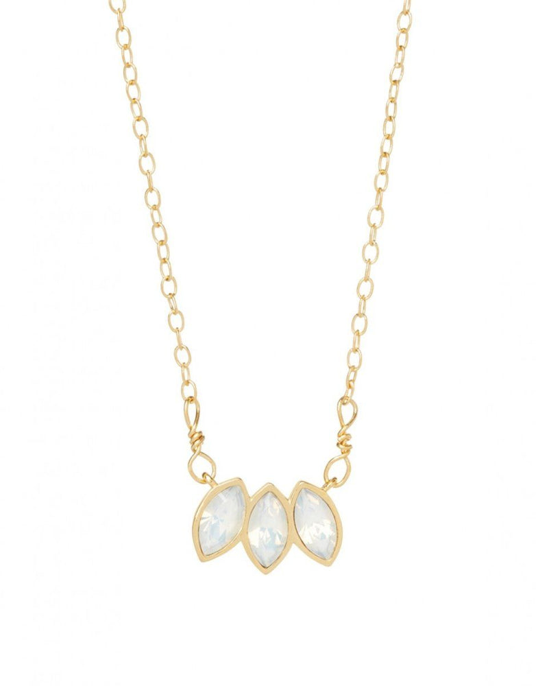 "Spartina Leaf Necklace 16"" White Opal"