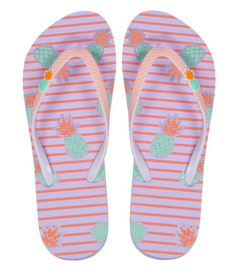 Striped Pink Pineapple Flip Flops