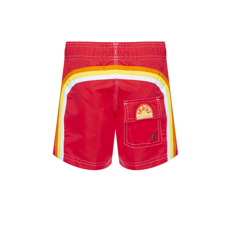 Boys Elastic Waist Swim Trunks Vintage Scarlet