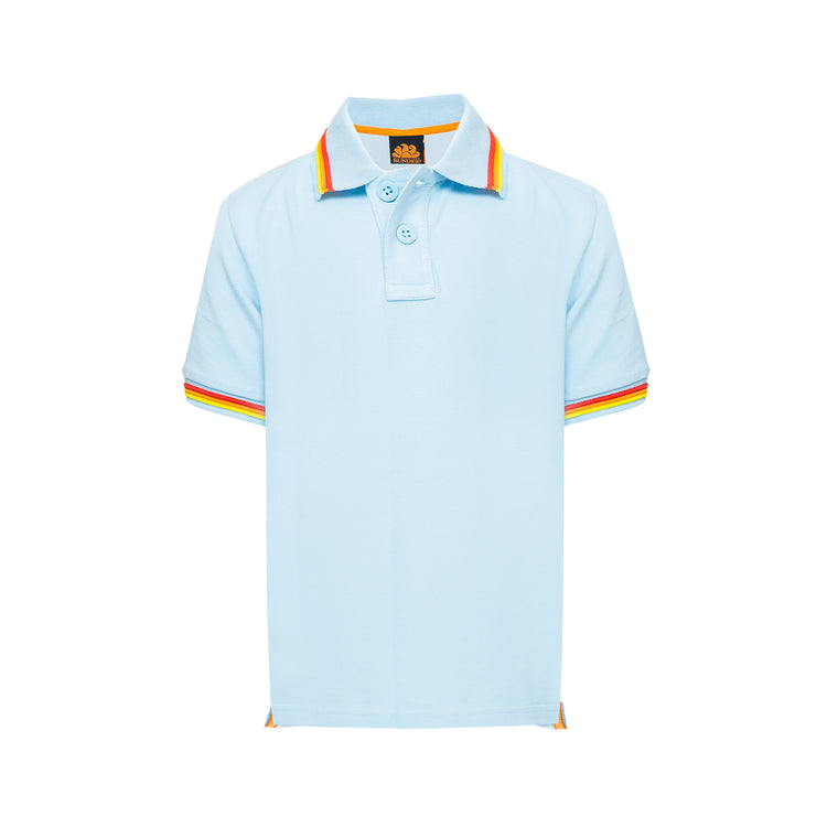 Boys Brice Polo Shirt Pique Vintage Blue