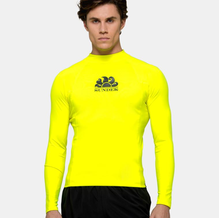 Sundek L/S Rash Guard for Men Neon Lime