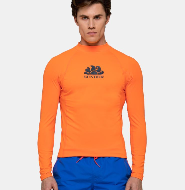 Sundek L/S Rash Guard for Men Neon Orange