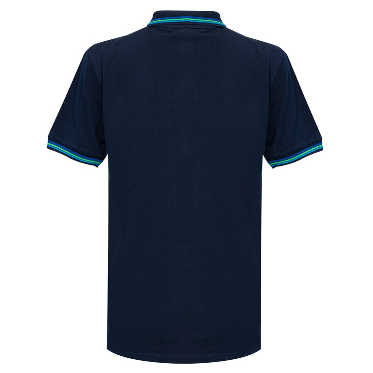 navy pique cotton polo