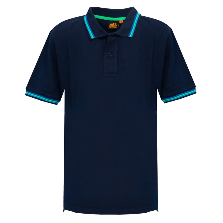 Pique Cotton Polo in Navy Blue