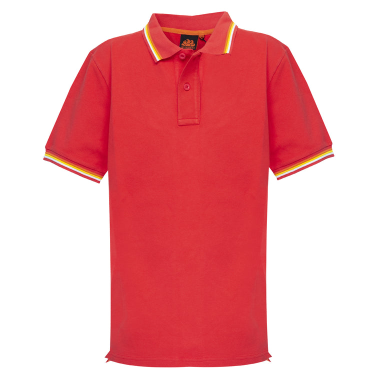 Mens Brice Polo Shirt in Pique Vintage Scarlet